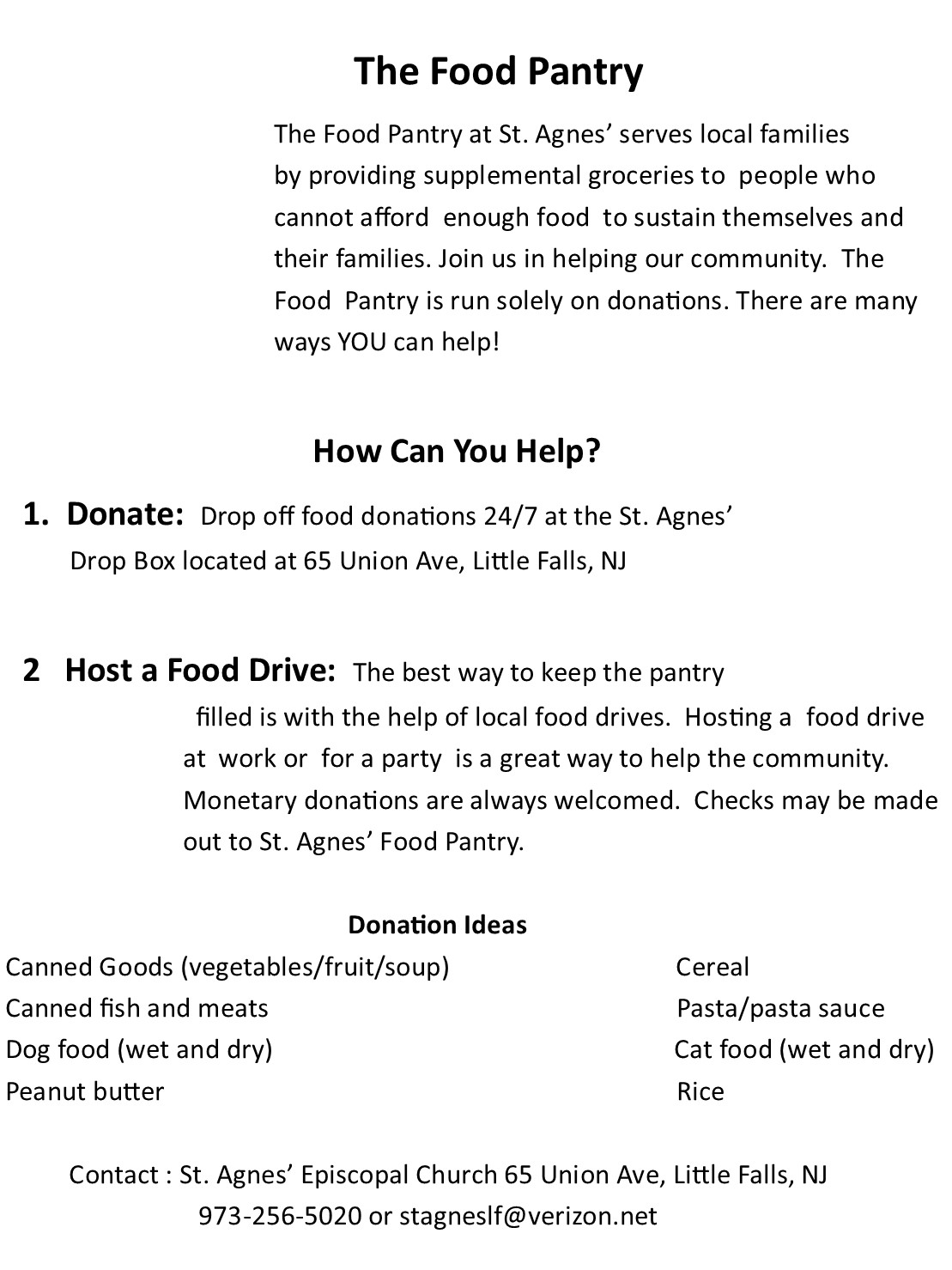 The Food Pantry St Agnes Episcopal Church
